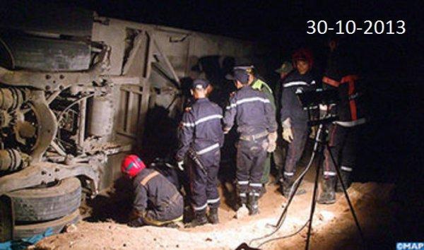30-10-2013 - Maroc - Essaouira - Tragique accident d'un autocar, au moins 12 morts et 30 blessés dont plusieurs graves.