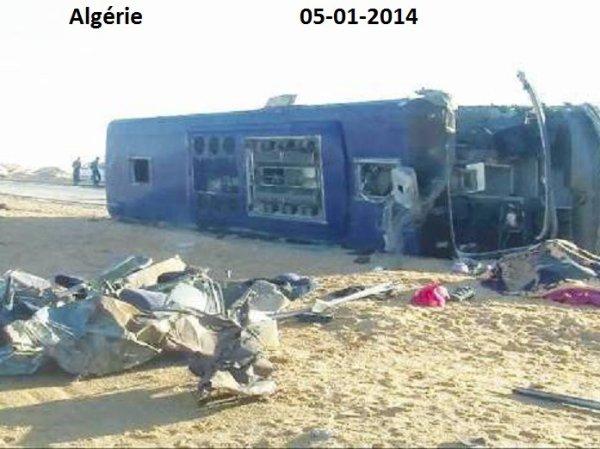 05-01-2014 - Algérie - Onze personnes sont mortes et 28 ont été blessées dans une collision entre un autocar et un camion dans le sud-est de l'Algérie, entre Touggourt et Ouargla.
