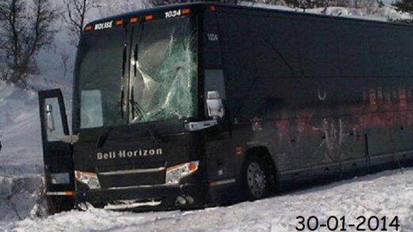 30-01-2014 - DRUMMONDVILLE - Un accident impliquant un autocar aux couleurs des Voltigeurs de Drummondville est survenu sur l'autoroute 55 à la hauteur de Melbourne.