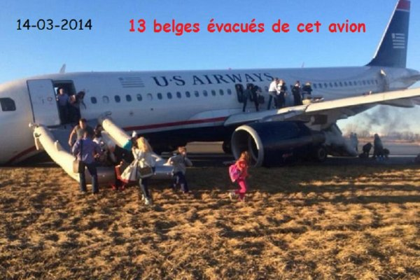 14-03-2014 - Aéroport de Philadelphie - Accident décollage Avion - 13 Belges survivent à un accident d'avion