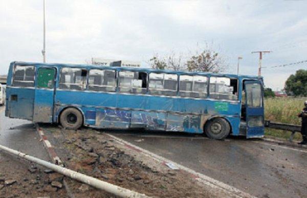 03-06-2014 - Biskra - Collision entre un bus et un véhicule : un mort et 7 blessés