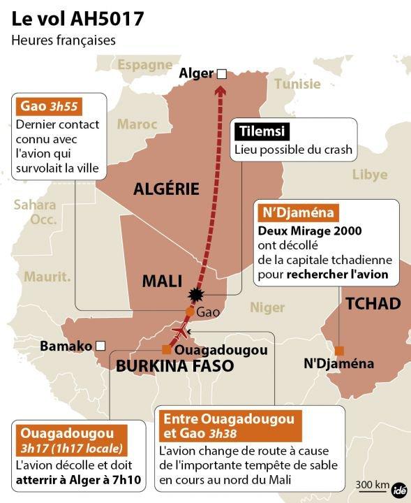 24-07-2014 - Afrique -  Algérie - CRASH AVION - Vol AH-5017 - Pas de survivants dans l'accident de l'avion MD-83 de la compagnie (Swiftair Espagne) volant pour Air-Algerie qui s'est écrasé dans la zone proche de Gossi, à environ 100 km de Gao, la plus grande ville du nord du Mali.
