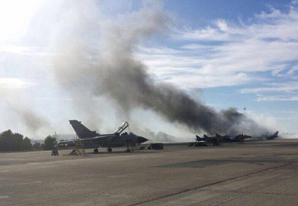 26-01-2015 - Espagne - Onze morts dont neuf Français lors du crash au décollage d'un avion de chasse F-16 Grec en Espagne sur le centre d'entraînement à Albacete