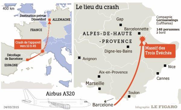 24-03-2015 - France - Alpes-de-Haute-Provence - Digne-les-Bains - Crash d'un A320 de la compagnie Germanwings avec 150 personnes à bord près de Digne-les-Bains, il effectuait le vol Barcelone-Düsseldorf