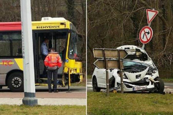 10-03-2015 - Jemeppe - Accident entre une voiture et un bus des TEC à Jemeppe. bilan: plusieurs blessés