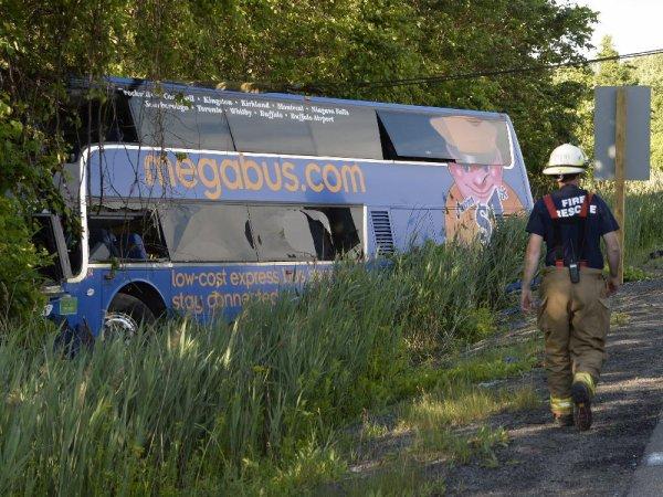 23-06-2015 - Ontario - Accident d'un autocar de chez Megabus, une femme lutte pour sa vie