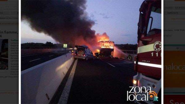 26-07-2015 - Belgique - Italie - Un autocar rempli de Belges en route vers la Calabre prend feu sur l' autoroute italienne A14 entre Lanciano et Val di Sangro, les 58 passagers ont tout perdu