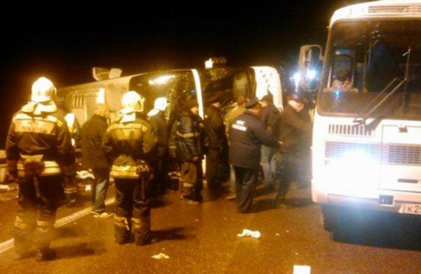 03-11-2015 - Russie - L'autocar s'est renversé sur la route entre Moscou et Erevan à Toula,  7 morts et 48 blessés dans un accident d'autobus.