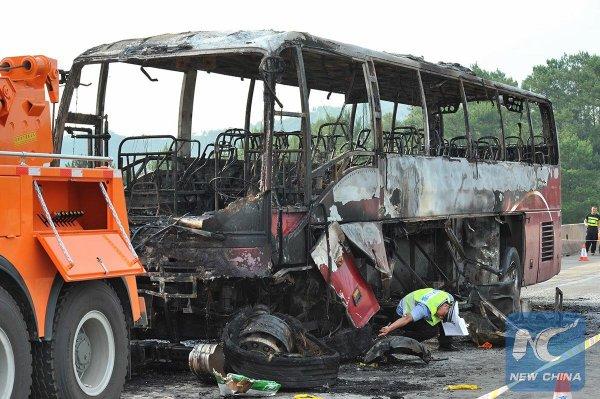 26-06-2016 - Chine - Hunan - au moins 30 morts et 21 blessés dans un accident d'autocar, son chauffeur a été arrêté.