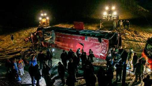 14-02-2019 -  Macédoine du Nord - Le bilan passe à 14 morts dans cet accident d'autocar