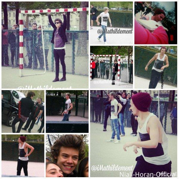 """(30.04) Harry, Louis & Niall le matin à Paris; Niall & Louis jouant au foot / Harry & un Fan dans les coulisses d'Amnéville / Concert à Amnéville, affiches """"MERCI"""", Narry câlin ♥"""