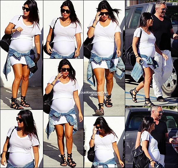 . 01/09/2014 : Kourtney s'est rendue à La Cienega Design Quarter à Beverly Hills. Kourtney porte des lunettes Yves Saint-Laurent à 272¤ & des spartiates Sigerson Morrison à 173¤. .