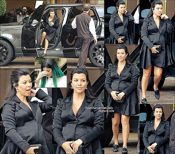 . 12/11/2014 : Kourtney et ses s½urs Kim qui a emmené North, Khloé & Kylie se sont rendues à la  BabyShower de Kourtney au Montage Hotel à Beverly Hills.  Kourtney porte une robe Christian Dior & des chaussures Stuart Weitzman à 320¤. .