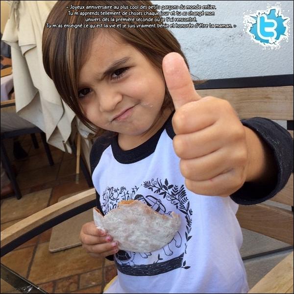 . 14/12/2014 : Kourtney a souhaité l'anniversaire de Mason qui fête ses 5 ans. .