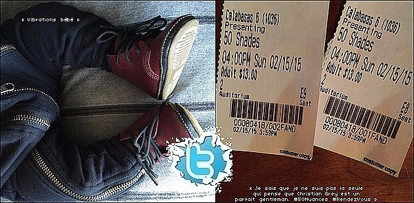 . 15/o2/2o15 : Kourtney & Scott sont allés « au cinéma » voir 50 Nuances de Grey - à Calabasas.  ● Kourtney porte un sac Mansur Gavriel à 790¤. .