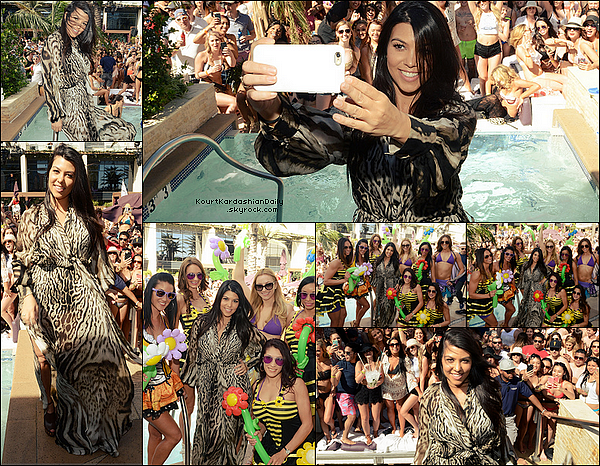 . 21/o3/2o15 : Kourtney a accueillit le « Marquee Dayclub Season Preview » avec des amies - à Las Vegas. ● Kourtney porte une Robe Roberto Cavalli à 3640¤ & des Sandales Tom Ford.   .
