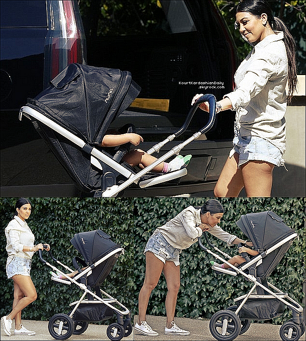 . 11/o5/2o15 : Kourtney a été vue en train de « Se promener » avec Reign - à Los Angeles. ● Kourtney porte des Baskets Converses à 45¤.  .