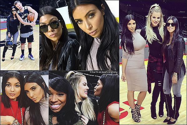 . o8/o6/2o15 : Kourt & ses soeurs sont allées à l'anniversaire de Kanye au « Staples Center » - à Los Angeles. ● Kourtney porte une Veste DKNY à 445¤, un Jeans Black Orchid à 125¤, un Sac Givenchy & de Bottes Kardashian Kollection à 135¤.  .