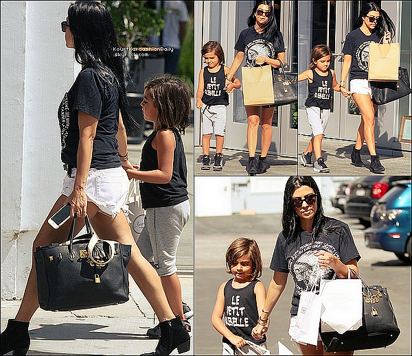 . o3/o8/2o15 : Kourtney & Mason sont allés à « Bonpoint Store » - à Beverly Hills. ● Kourtney porte une Ceinture Yves Saint-Laurent à 390¤, un Short One Teaspon à 75¤, un Sac Hermès & des Bottines Yves Saint-Laurent à 910¤.  .