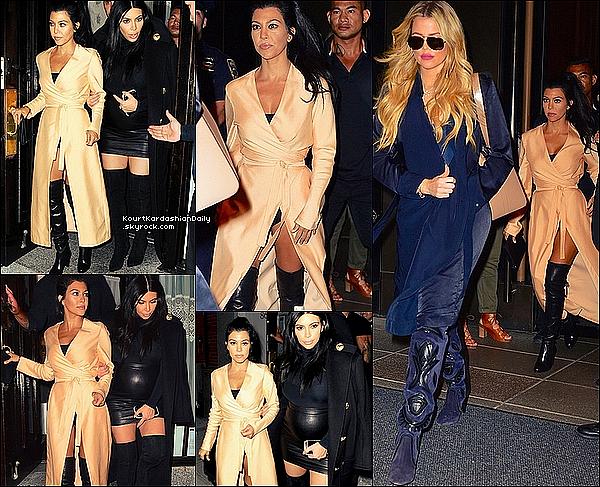 . 13/o9/2o15 : Kourtney, Kim, Khloé, Kendall, Kylie & Tyga sont allés dîner à « Il Mulino Restaurant » - à New-York. ● Kourtney porte des Bottes Stuart Weitzman à 705¤.  .