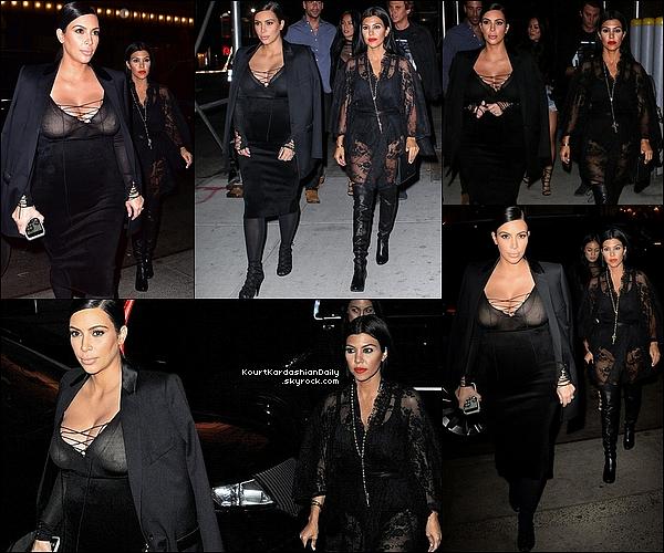. 15/o9/2o15 : Puis, Kourtney est allée à « The Polo Barl » avec Kim - à New-York. ● Kourtney porte un Kimono Agent Provocateur à 675¤ & des Bottes Stuart Weitzman à 710¤.  .