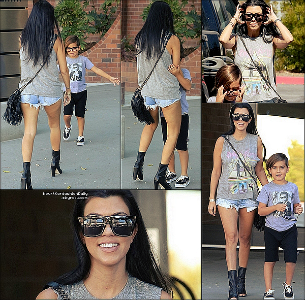 . o3/1o/2o15 : Kourtney & Mason ont été vus quittant les « Bureaux professionnels » - à Woodland Hills. ● Kourtney porte un T-Shirt Lauren Moshi, un Short One Teaspoon à 90¤, un Sac Chanel & des Bottines Stuart Weitzman à 545¤.  .