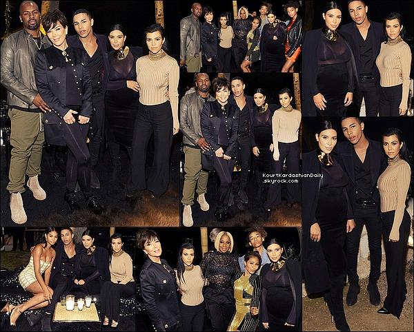 . 23/1o/2o15 : Le soir, Kourtney est allée à « L'Anniversaire d'Olivier Rousteing » - à Los Angeles. ● Kourtney porte un Top Balmain & des Chaussures Yves Saint-Laurent à 537¤.  .