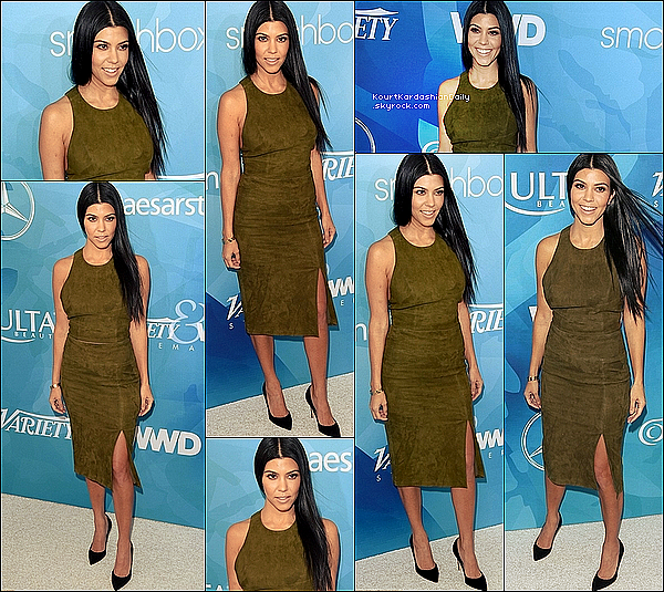 . 19/11/2o15 : Kourtney est allée au gala « WWD And Variety Inaugural Stylemakers » - à Culver City. ● Kourtney porte un Top Alice & Olivia à 480¤, une Jupe Alice & Olivia à 870¤ & des Escarpins Gianvito Rossi à 490¤.  .