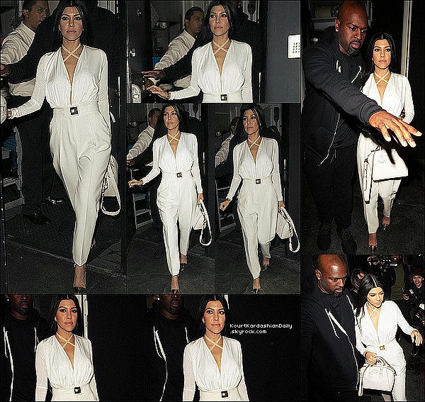 . 11/12/2o15 : Kourtney a été vue quittant « The Nice Guy Restaurant » avec Corey Gamble - à West Hollywood. ● Kourtney porte un Top AQ/AQ, une Pantalon Elisabetta Franchi, un Sac Givenchy & des Escarpins Gianvito Rossi à 720¤.  .