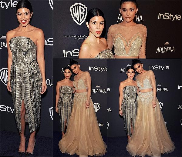 . 1o/o1/2o16 : Kourtney & Kylie sont allées à l'After-Party des « Golden Globes Awards 2016 » - à Beverly Hills. ● Kourtney porte des Escarpins Gianvito Rossi à 680¤.  .