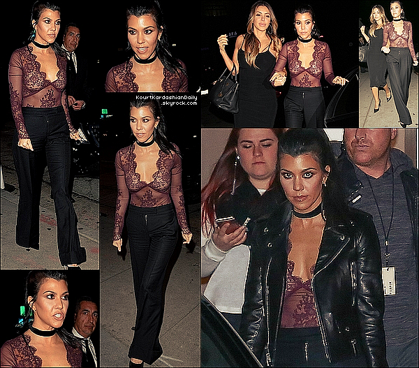 . 27/o1/2o16 : Kourtney & Larsa Pippen sont allées dîner à « Craig's Restaurant » - à West Hollywood. ● Kourtney porte  une Veste Yves Saint-Laurent.  .