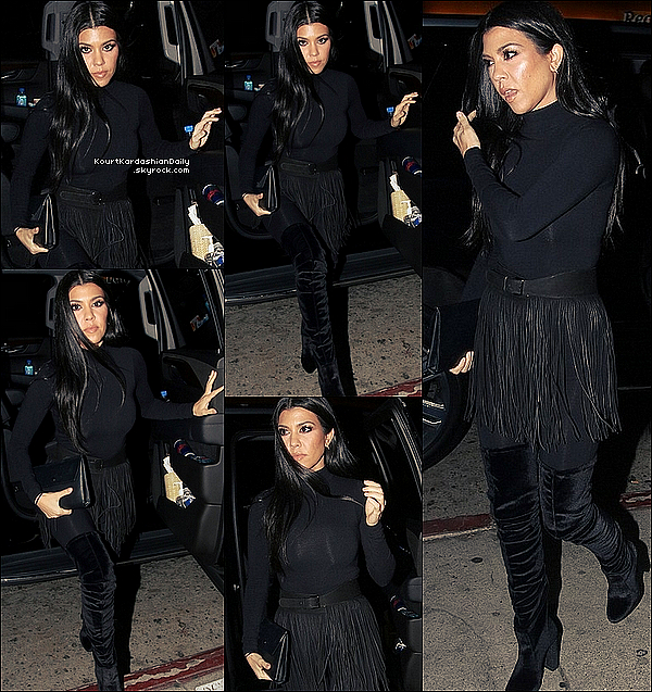 . 29/o1/2o16 : Kourtney, Khloé, French Montana & Corey Gamble sont allés diner à « The Nice Guy Restaurant » - à West Hollywood. ● Kourtney porte une Pochette Celine & des Bottes Aquazzura à 1195¤.  .