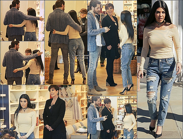 . o2/o2/2o16 : Kourtney, Scott & Kris sont allés à « Williams Sonoma Store » - à Calabasas. ● Kourtney porte un Pull American Apparel à 45¤, un Jeans One Teaspon à 130¤ & des Escarpins Gianvito Rossi à 685¤.  .