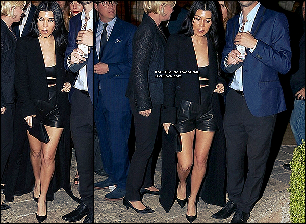 . 26/o2/2o16 : Le soir, Kourtney est allée à la «  William Morris Endeavor pre-Oscars Party » - à Beverly Hills. ● Kourtney porte un Short Yves Saint-Laurent à 2210¤, un Sac Celine & des Escarpins Gianvito Rossi à 510¤.  .