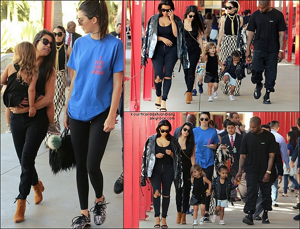 . o2/o4/2o16 : Kourtney, Mason, Penelope, Kim, Kanye, North & Kendall sont allés au « Los Angeles County Museum of Art » - à Los Angeles. ● Kourtney porte des Lunettes Yves Saint-Laurent  305¤, un Sac Yves Saint-Laurent à 1655¤, un Pantalon JBrand à 220¤ & des Bottines Stuart Weitzman[/g à 450¤].  .