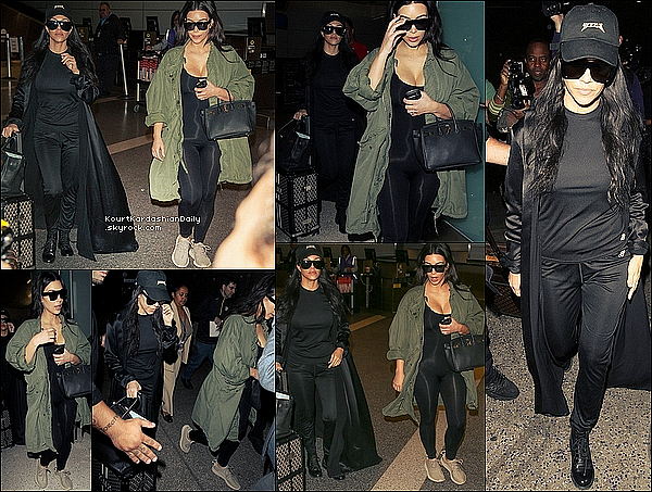 . 2o/o4/2o16 : Puis, Kim & Kourtney sont arrivées à « LAX Airport » - à Los Angeles. ● Kourtney porte une Veste Alpha Industries à 110¤ & des Bottines Yves Saint-Laurent.  .