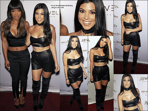 . 21/05/2o16 : Kourtney est allée à l'ouverture du « Jewel Nightclub » - à Las Vegas. ● Kourtney porte un Bandeau August Getty & des Bottes Aquazzura à 355¤.  .