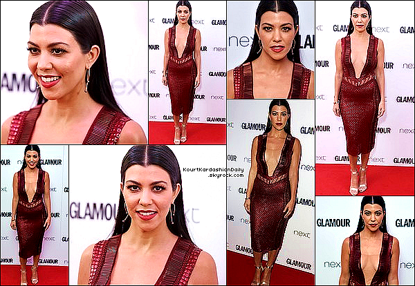 . 07/06/2o16 : Ensuite, Kourtney est allée au « Glamour Women of the Year Awards » - à Londres.  ● Kourtney porte une Robe Julien MacDonald & des Escarpins Gianvito Rossi à 710¤.  .