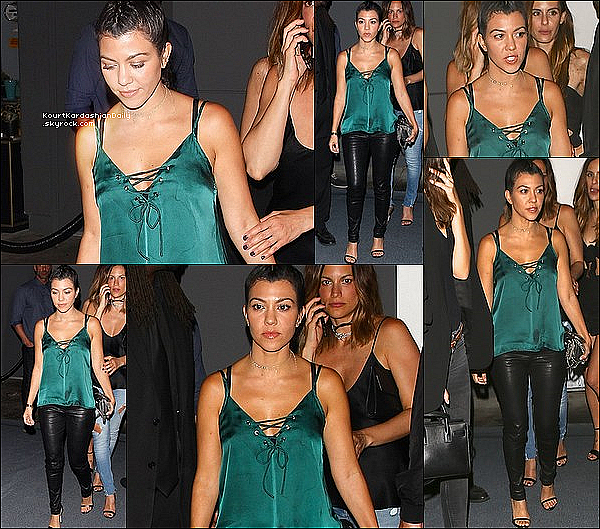 . 18/o6/2o16 : Kourtney & des amis sont allés dîner au « Doheny Rooms Restaurant » - à West Hollywood. ● Kourtney porte un Top Wyldr à 40¤, un Sac Yves Saint-Laurent à 1070¤ & des Escarpins Stuart Weitzman à 375¤.  .