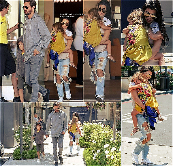 . 25/o6/2o16 : Kourtney & Scott ont emmenés Mason & Penelope au « Cinéma » - à Calabasas. ● Kourtney porte des Lunettes Victoria Beckham à 880¤, un Top Are You Am I à 71¤, un Jeans Citizens of Humanity & des BAskest Converses à 45¤.  ● Mason porte un Short Nununu & des Chaussures AKID.  ● Penelope porte une Robe Hemant and Nandita.  .