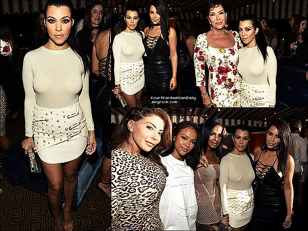 . 28/o6/2o16 : Kourtney, Kris & Kim sont allées à « The Nice Guy Restraurant » pour le GQ's 10th annual Love Sex and Madness Celebration - à L.A. ● Kourtney porte un Body Wolford à 215¤, une Jupe Luciana Balderrama, une Pochette Charlotte Olympia à 595¤ & des Escarpins Yeezy à 545¤.  .