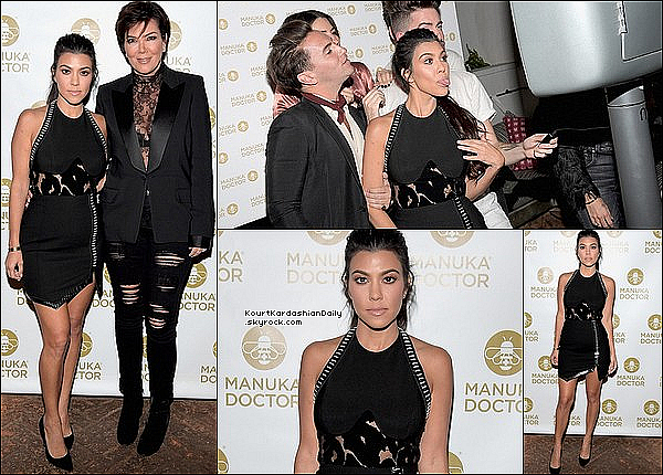.  19/1o/2o16 : Kourtney & Kris sont allées au « Manuka Doctor Cocktail Party » - à West Hollywood. ● Kourtney porte un Body Mugler à 1545¤, une Pochette Lee Savage à 1275¤, une Jupe Mugler à 1040¤ & des Escarpins Gianvito Rossi à 610¤.  .