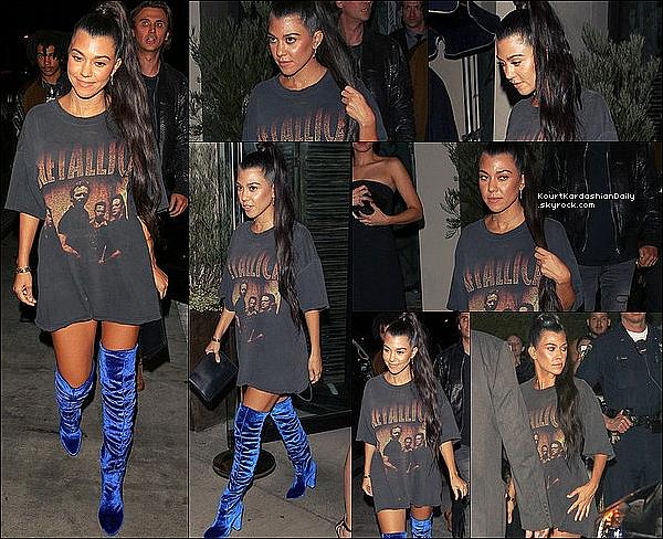 .  27/1o/2o16 : Kourtney est allée au « Concert de Kanye West » - à Los Angeles. ● Kourtney porte un T-Shirt Metallica, une Pochette Celine & des Bottes Aquazzura à 965¤.  .
