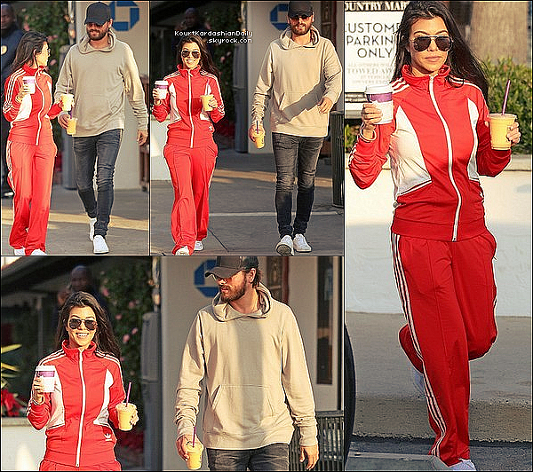 . o5/12/2o16 : Kourtney & Scott ont été vus quittant un « Coffee Shop » - à Malibu. ● Kourtney porte des Lunettes Yves Saint-Laurent à 340¤, une Veste Adidas à 65¤, un Pantalon Adidas à 60¤ & des Baskets Adidas à 90¤.  ● Reign porte un Pantalon Nununu à 60¤.  .