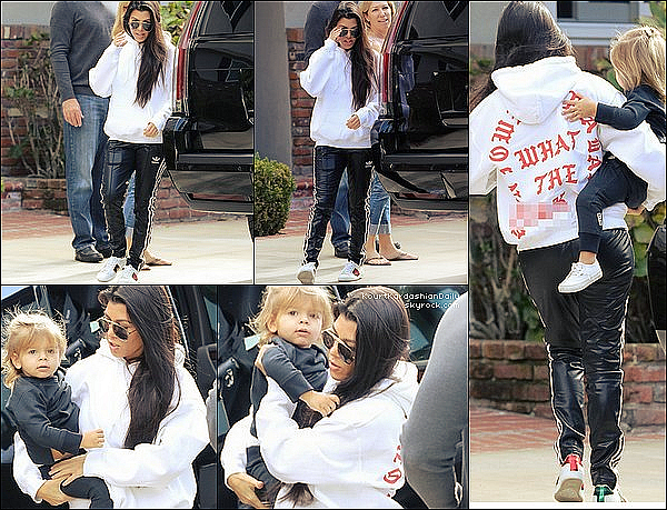 . 11/12/2o16 : Kourtney & Reign sont allés « Rendre Visite » à une amie de Kourt - à Irvine. ● Kourtney porte des Lunettes Yves Saint-Laurent à 340¤, un Sweat Life of Pablo à 25¤, un Pantalon Adidas & des Baskets Gucci à 585¤.  .