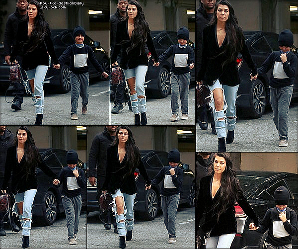 . 1o/o1/2o17 : Kourtney a été vue quittant des « Studios d'Enregistrement » - à Woodland Hills. ● Kourtney porte une Veste AS by DF à 340¤, un Sac Louis Vuitton à 1790¤, un Jeans Good American à 200¤ & des Bottes Stuart Weitzman à 695¤.  .