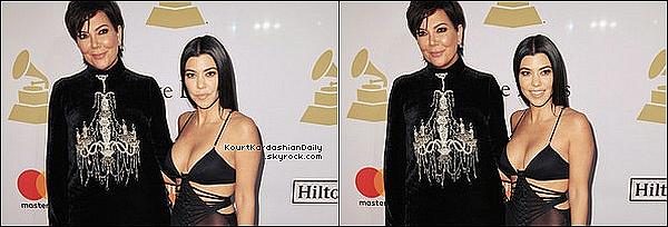 . 11/o2/2o17 : Kourtney & Kris sont allées au « Clive Davis Pre-Grammy Party » qui avait lieu au « Beverly Hilton Hotel » - à Beverly Hills. ● Kourtney porte des Escarpins Stuart Weitzman à 395¤.  .