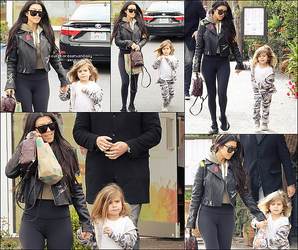 . 26/o2/2o17 : Kourtney a emmenée Penelope à « Color Me Mine » - à Calabasas. ● Kourtney porte une Veste Alice&Olivia à 1080¤, un Sac Louis Vuitton à 1960¤ & des Baskets Adidas Yeezy.  .
