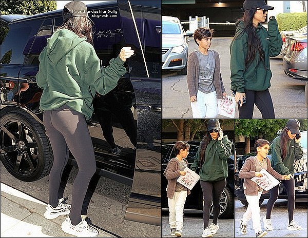 . 28/o2/2o17 : Puis, Kourtney s'est rendue dans un « Spa » - à Brentwood. ● Kourtney porte une Veste Champion + UO Hunter Hoodie & des Baskets Yeezy.  .