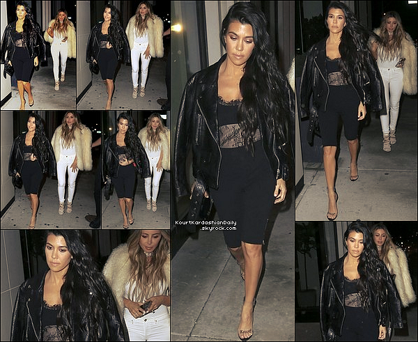 . 3o/o3/2o17 : Le soir, Kourtney & Larsa Pippen sont allés dîner à « Catch LA Restaurant » - à Wast Hollywood. ● Kourtney porte une Veste Acne à 1550¤ & un Top Vatanika.  .